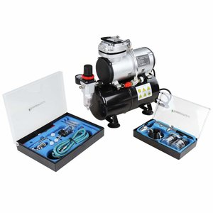 Timbertech ABPST06  airbrush set met compressor, double action airbrush