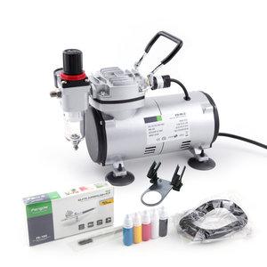 Airbrush Set Fengda AS18-2K(FD18-2K) met compressor FD-18-2, Airbrush FE-130 en accessoires