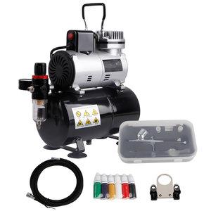 Timbertech ABPST08K airbrush compressor complete set met verbeterde koelventilator mini compressor airbrushpistool en airbrush accessoires