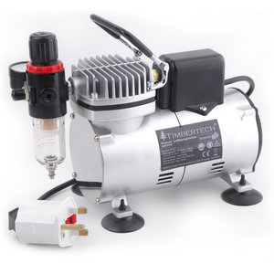 UK Plug Timbertech Professional Piston Airbrush Compressor ABPST07 with Motor Cool Down Fan